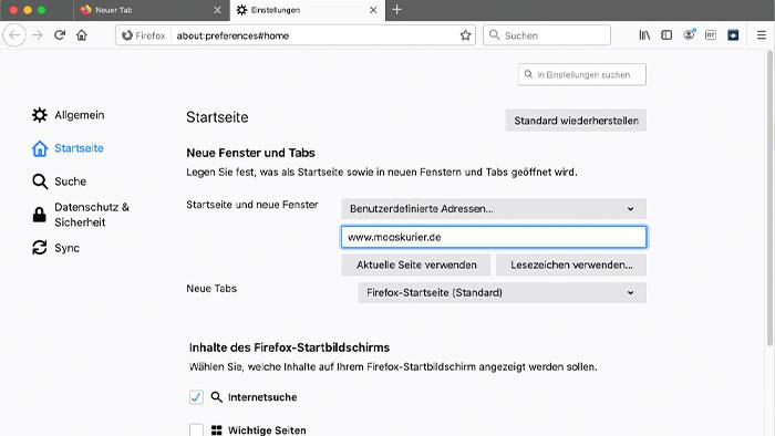 Mooskurier-als-Startseite-Firefox-3